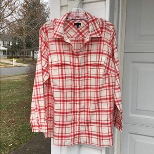 NWT Talbots Red & Cream Woven Plaid Blouse